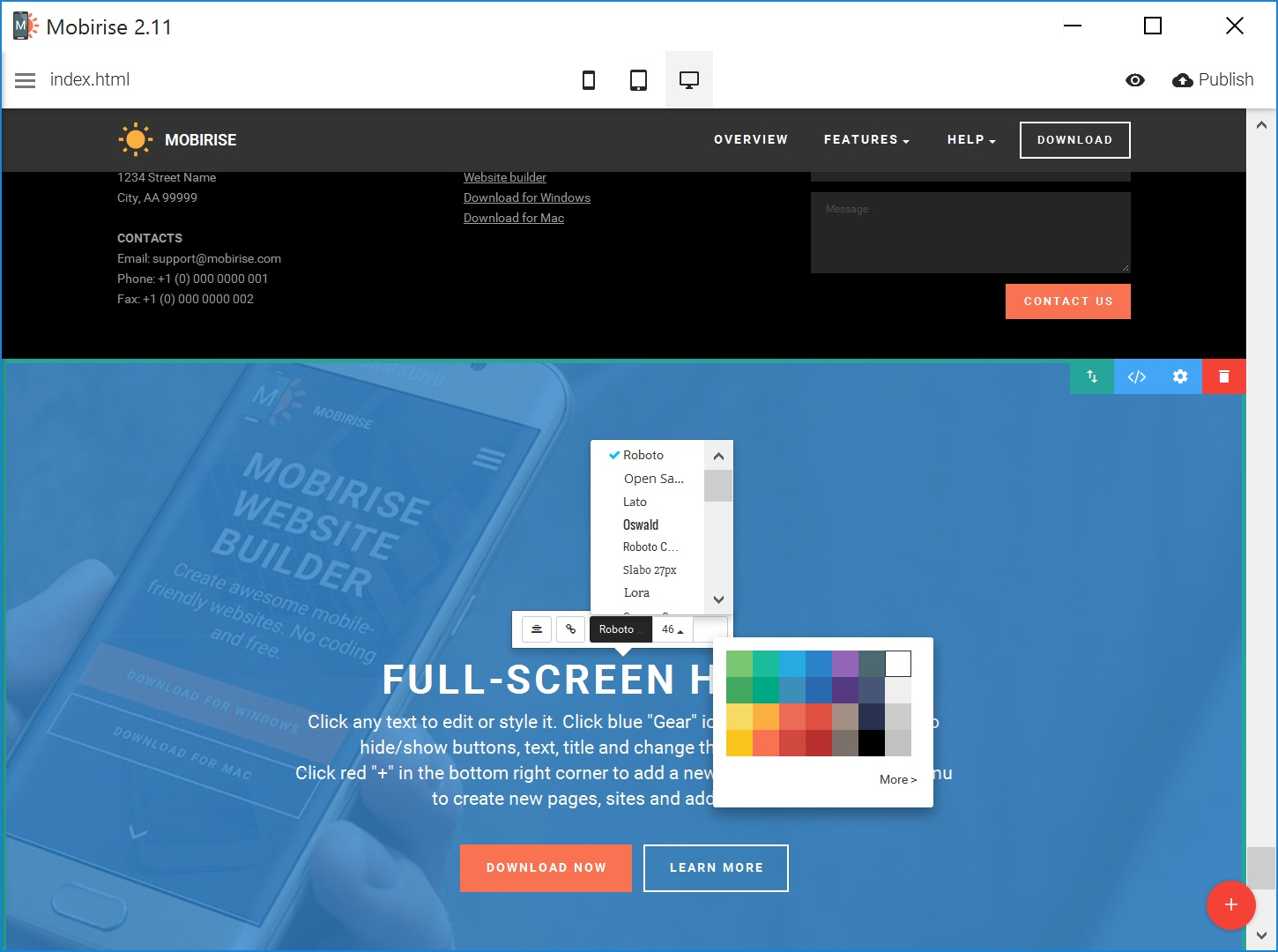 Free Mobile Web Page  Creator Software