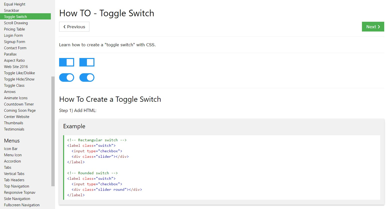 The ways to  develop Toggle Switch