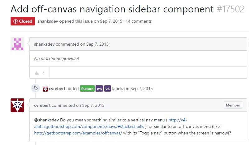 Bring in off-canvas navigation sidebar  element