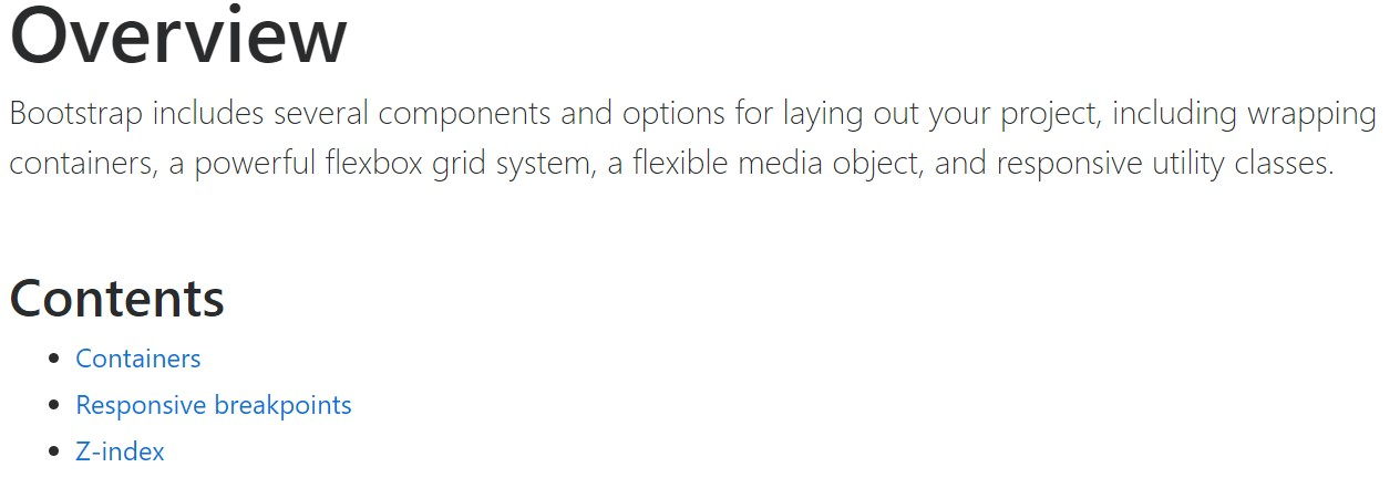 Bootstrap layout official documentation