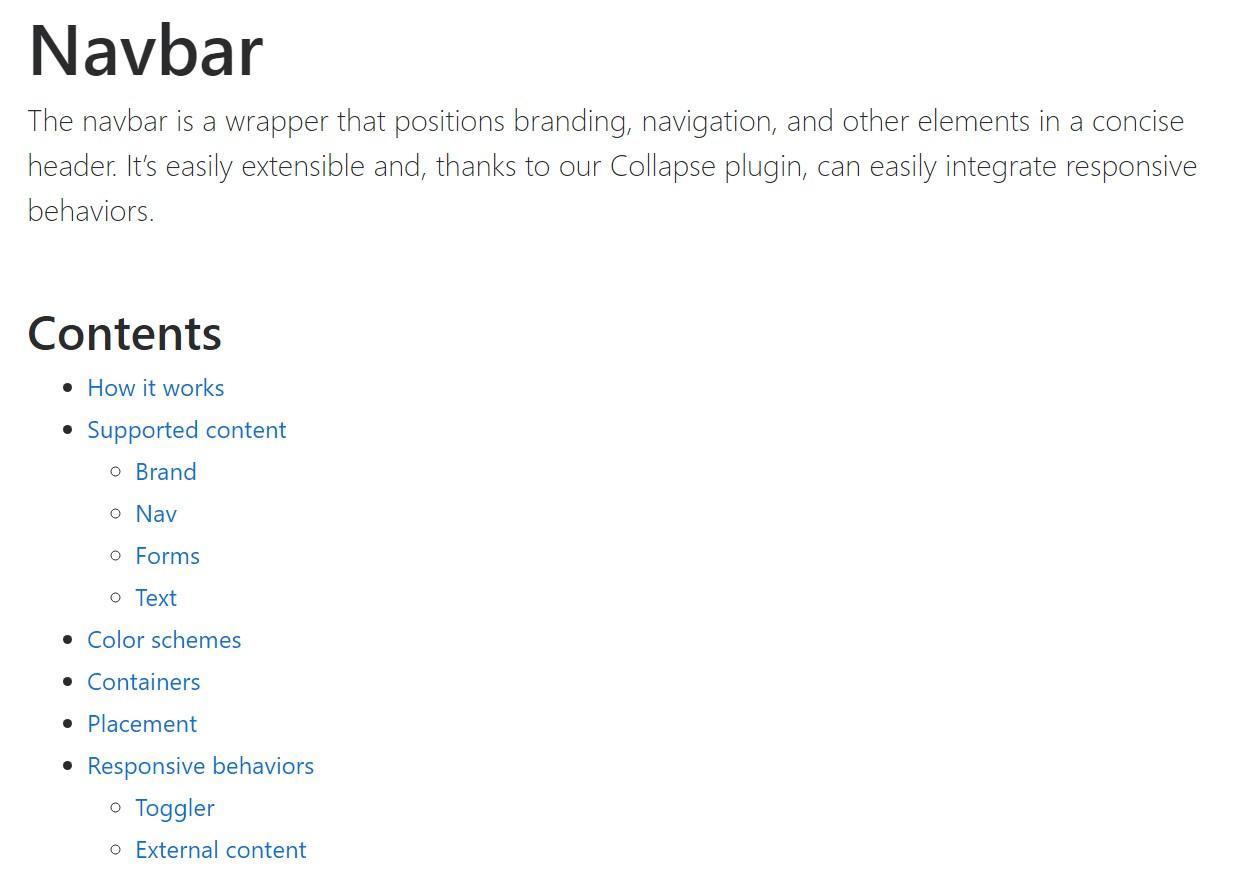 Bootstrap Navbar  main  information