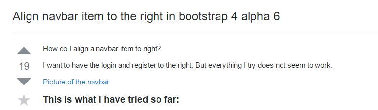 Line up navbar  object to the right  inside Bootstrap 4 alpha 6