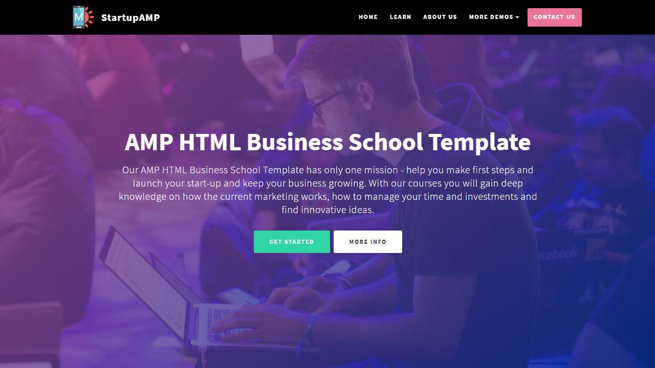 AMP HTML Business School Template